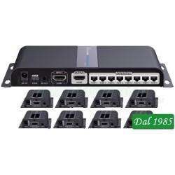 SPLITTER HDMI CON ESTENSORE DI SEGNALE ETHERNET CON PORTA HDMI PASSANTE E RIPETITORE DI TELECOMANDO POE 8 USCITE