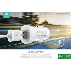 CARICABATTERIA PER AUTO 2,1 AMPER A USB SMART DEVIA COLORE BIANCO