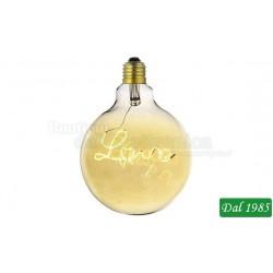 LAMPADINA VINTAGE LED GLOBO 125 SCRIPT LOVE DECO LINE E27 4W LUCE CALDA