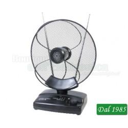 ANTENNA AMPLIFICATA DA INTERNI PER DVB-T/T2 E RADIO FM CON FILTRO LTE E GUADAGNO REGOLABILE