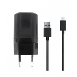 CARICATORE DA RETE DUAL CON CAVO USB-C / USB 2,4A 1METRO COLORE NERO MOOOV