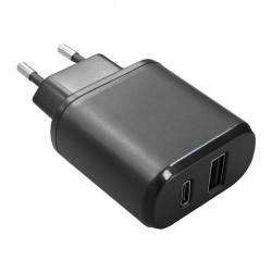 ALIMENTATORE DA RETE 220VOLT DUE USCITE USB+USB TYPE C 5 VOLT 3 AMPER
