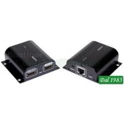 ESTENSORE DI SEGNALE HDMI SU CAVO ETHERNET 60M CON PORTA HDMI PASSANTE E RIPETITORE DI TELECOMANDO