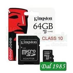 MICRO SD 64GB CLASSE 10 KINGSTON 45MB/s