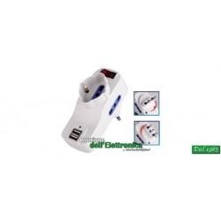 ADATTATORE SPINA ROTANTE 16A / 3 PRESE + 2 USB CON INTERRUTTORE