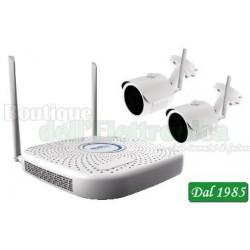 KIT WI-FI PLUG & PLAY CON NVR 4CH + 2 TELECAMERE WI-FI IP DA 1MP