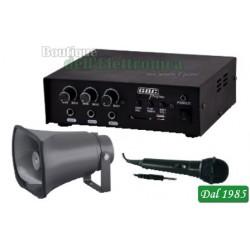 KIT AMPLIFICATORE 30W CON MP3 / TROMBA / MICROFONO ( Mod. GBC KIT CAR 30 )