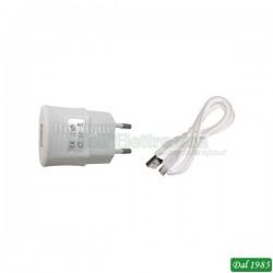 ALIMENTATORE USB 5V 2,1A RETE 230V COLORE BIANCO+CAVO USB