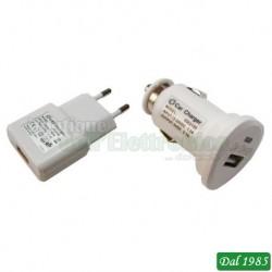 KIT 2xALIMENTATORE USB 5V 2,1A RETE230V+AUTO12V