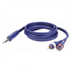 CAVO AUDIO SPINA JACK 6,3MM STEREO / 2 SPINE RCA 3mt