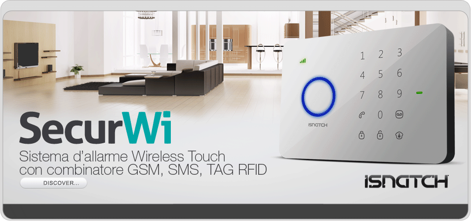 Sistema di allarme Wireless Touch con combinatore GSM,SMS,TAG RFID